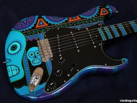 16 2007 DAY OF THE DROWNED Stratocaster Psychedelic series painted by PAMELINA H.